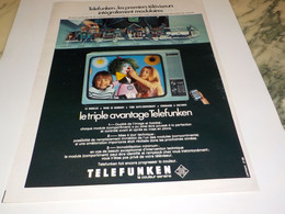 ANCIENNE PUBLICITE   PREMIERE MODULAIRE TELEVISION TELEFUNKEN   1977 - Televisione