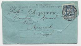 FRANCE SAGE 15C SEUL TELEGRAMME COMPLET AVEYRON 1895 - 1877-1920: Semi-moderne Periode