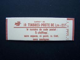1974-C3 CONF. 9 CARNET FERME 10 TIMBRES SABINE DE GANDON 1,20 ROUGE CODE POSTAL (BOITE C) - Standaardgebruik