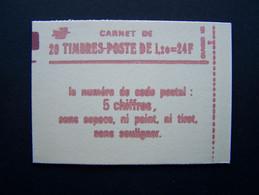 1974-C4 CARNET FERME 20 TIMBRES SABINE DE GANDON 1,20 ROUGE CODE POSTAL (BOITE C) - Standaardgebruik