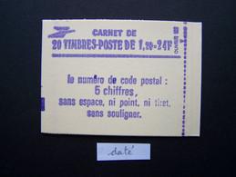 2101-C3 CONF. 8 CARNET DATE DU 29.10.80 FERME 20 TIMBRES SABINE DE GANDON 1,20 VERT CODE POSTAL (BOITE C) - Standaardgebruik