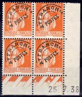 NB - [52455]TB//**/Mnh-c:855e-France  - PO74, 80c Orange Type Paix En Bloc De 4 Coin Daté '25.7.38'. Rare Et Fraicheur P - 1930-1939