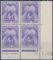 NB - [52458]TB//**/Mnh-c:42e-France  - TX74, 4F Violet En Bloc De 4 Coin Daté '14.1.48' - 1940-1949