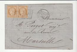 """Lettre Avec Paire Cérès Siège N°36 Et Cachet """"Gare De Lyon"""" 1871, Cote + 250e + Facture - 1870 Beleg Van Parijs"""
