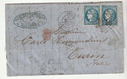 Lettre Avec Paire Cérès Bordeaux N°46B, Marseille Pour Turin /Italie, 1871 - 1870 Bordeaux Printing