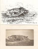 Lot De 2 Cpa De 14-18, Tank Allemand De La Pompelle, Carte-photo + Dessin, écrites En Juillet 1918, Marne, Champagne - Guerra 1914-18