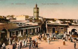 CASABLANCA (Maroc) à Petit Prix - Place De Marrakech - Cpa De 1925 - Très Animée - Très Bon état - 2 Scans - Casablanca
