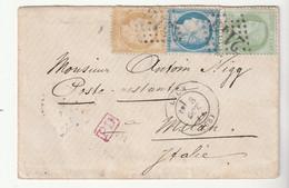 """Lettre Avec Affranchissement Tricolore Cérès N°53, 55, 60 Et Cachet Rouge """"PD"""", Lyon Pour Milan / Italie, 1874 - 1871-1875 Ceres"""
