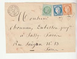 Devant De Lettre Avec Affranchissement Tricolore Cérès N°38, 53, 60 ,G.C.3794, St Paul Cap De Joux /Tarn Ind.8, 1874 - 1871-1875 Ceres