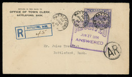 TREASURE HUNT [00102] Canada 1934 Reg. Cover Sent Within Battleford With Return Receipt, Bearing 13c Violet Stamp - Lettres & Documents