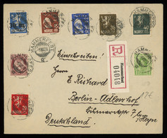 TREASURE HUNT [00104] Norway 1928 Reg. Cover From Hammerfest To Berlin Bearing A Colourful Franking Of Various Issues - Lettres & Documents