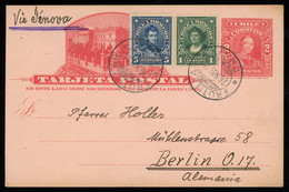 TREASURE HUNT [00119] Chile 1914 2c Red Post Card Sent From Frutillar To Berlin Up-rated With 1c Green And 5c Blue - Chili