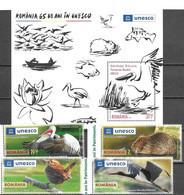 ROMANIA, 2021, MNH, DANUBE DELTA, UNESCO WORLD HERITAGE, BIRDS, PELICANS, FISH, RODENTS, 4v+S/SHEET - Pelicans