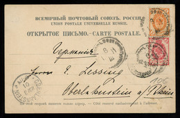 TREASURE HUNT [00173] Russia 1901 Illustrated Post Card Sent To Germany Franked With 1k Orange+3k Carmine Definitives - Lettres & Documents