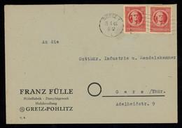 TREASURE HUNT [00175] SBZ Thüringen 1946 Cover Bearing Two Schiller 12 Pf Red Stamps Sent From Greiz To Gera - Sovjetzone