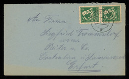 TREASURE HUNT [00177] SBZ Thüringen 1946 Cover From Weida To Erfurt Bearing Post Horn 6 Pf Green Vertical Pair - Sovjetzone