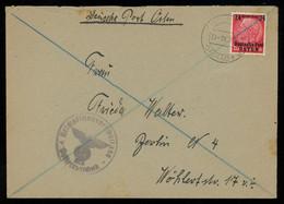 TREASURE HUNT [00198] General Gouvernment 1942 Deutsche Post Osten 24gr On Cover From Radymno, Violet Swastika Cachet - Algemene Overheid
