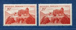⭐ France - Variété - YT N° 841 A - Couleurs - Pétouille - Neuf Sans Charnière - 1949 ⭐ - Varieties: 1945-49 Mint/hinged