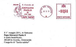 VATICANO - 2011 Ricordo Beatificazione Papa GIOVANNI PAOLO II Santo Subito - Ema Affranc. Red Meter - SPECIMEN - 3995 - Papes