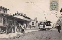 EPINAL - VOSGES -  (88)  -  CPA TRES ANIMEE DE 1906 - TRAMWAY ET CHARETTES... - Epinal