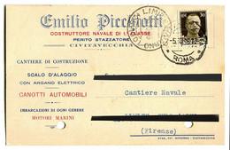 CARTOLINA COMMERCIALE EMILIO PICCHIOTTI COSTRUTTORE NAVALE PERITO STAZZATORE CIVITAVECCHIA VIAGGIATA ANNO 1936 - Civitavecchia