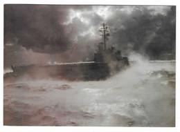 90 JDA - PORTE-HÉLICOPTÈRES JEANNE D'ARC DANS LA BRUME  -  CP Marine Nationale - CF CHOVE - (2 Scan) - Guerra