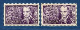 ⭐ France - Variété - YT N° 908 - Couleurs - Pétouille - Neuf Sans Charnière - 1951 ⭐ - Varieties: 1950-59 Mint/hinged