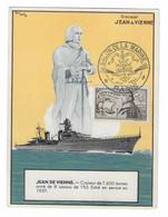 42 SM - SALON DE LA MARINE 1944 - CROISEUR JEAN DE VIENNE 'CP Giraud-Ivoire) - Cachet à Date 9 Juin 1944 (2 Scan) - Posta Marittima