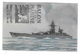 43 SM - SALON DE LA MARINE 1943 - CUIRASSÉ RICHELIEU  - Cachet à Date 16 Juin 1945 (2 Scan) - Posta Marittima