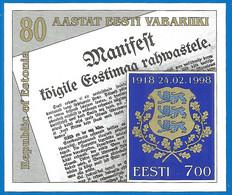 Estonia 1998 Year Mint Block MNH (**)  Mich.# Blc 11 - Estonia