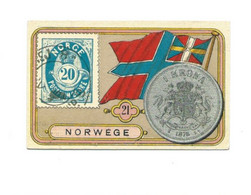 Exceptionnelle Chromo 1900s Norwege Norwege Norway Coin Monnaie Drapeau Stamp Timbre Flag 65x40 Mm TB 2 Scans RARE - Other