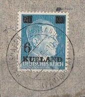 "Occupazione Tedesca Nel Kurland Seconda Guerra Mondiale 1945 - Overprinted ""Kurland""  FRANCOBOLLO SU FRAMMENTO - Gebruikt"