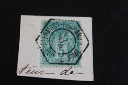 Y&T NO 75 TYPE II SUR FRAGMENT CACHET EXAGONAL CLERMONT-FERRAND PUY-DE-DOME B/TB - 1849-1876: Classic Period