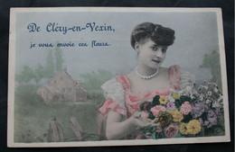 CPA Val D'Oise - Cléry En Vexin (95420) Carte De Vœux, Je Vous Envoie Ces Fleurs - A Voyagé Entre 1903 Et 1908. - Sin Clasificación