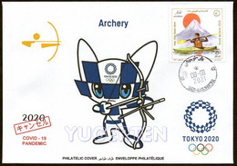ARGELIA 2021 - Philatelic Cover - Archery Tir à L'arc Bogenschießen Olympics Tokyo 2020 Olympische COVID Olympic - Tiro Con L'Arco