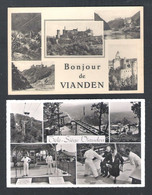 LUXEMBOURG -  VIANDEN - BONJOUR DE VIANDEN  ET  TELE-SIEGE  - 2 CPA  (L 087) - Vianden