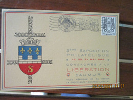 Flamme Exposition Philatelique Saumur 1947  , La Croix Verte Liberation  Montreuil Bellay - 1921-1960: Periodo Moderno
