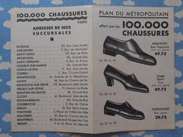 METRO PLAN DU METROPOLITAIN DE PARIS OFFERT PAR LES MAGASINS 100.000 CHAUSSURES 1935 - Europa