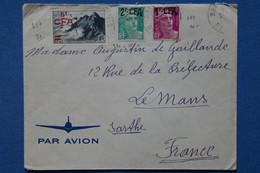 #16 LA  REUNION   BELLE LETTRE 1949 PETIT BUREAU  POINTE DES GALETS   POUR   LE MANS FRANCE + AFFRANCHISSEMENT. PLAISANT - Briefe U. Dokumente