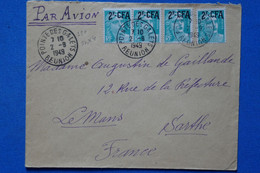 #16 LA  REUNION  BELLE LETTRE 1949 PETIT BUREAU  POINTE DES GALETS   POUR LE MANS FRANCE+  PAIRE DE+ AFFRANCH  PLAISANT - Briefe U. Dokumente