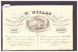 BIEL - BIENNE - HOTEL DE LA CROIX BLANCHE - DOS BLANC NON IMPRIME - TB - BE Berne