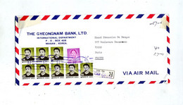 Lettre  Recommandee Masan Sur Tete  Entete Banque - Corea Del Sud