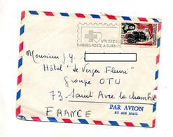 Lettre Flamme Saint Denis Reunion Timbre  à Surtaxe Sur Ile Bourbon CFA - Storia Postale