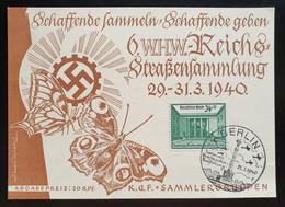 """Deutsches Reich 1940, Postkarte """"WHW"""" Straßensammlung BERLIN Sonderstempel - Storia Postale"""