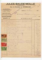 GOSSELIES - Jules Baude-Molle, 1928, Plombier, Timbres Fiscaux, Région Charleroi - 1900 – 1949