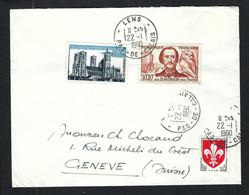 FRANCE 1960: LSC De Lens (PdC) Pour Genève - Covers & Documents