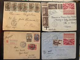 Lot De 4 Lettres Dont Recommandé Et Par Avion Colonies Afrique équatoriale No 72x10, 74x10,43x5,221,217x3,63,93 Et 99 - Covers & Documents