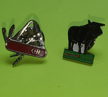 Lot 2 PIN'S - Couteau Victorinox , Taureau Laguiole - Vers 1980 - Trademarks