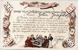 Diplome De Manilleur Décerné Par La Sté Amicale Des Joueurs De Manille De France à Mr Gérin Joseph .  (121953) - Playing Cards