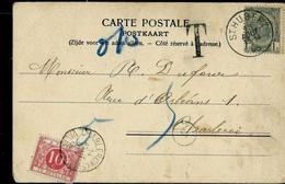 CP ( St-Hubert) Obl; ST HUBERT 13/08/1906 + Taxé  à Charleroy - Rural Post